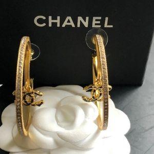Authentic Chanel Crystal Hoop Earrings